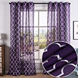 Kotile Purple Sheer Curtains - Silver Moroccan Trellis Grommet Sheer Curtains for Girls Room, 52 x 95 Inch, 2 Panels