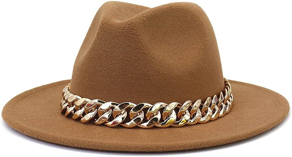 HUDANHUWEI Fedora for Women Chain Fedora hat