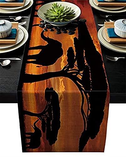 VJRQM Camino de mesa de arpillera de algodón duradero y lino,bufandas,madre y bebé,elefantes africanos,sombra,lavable,camino de mesa para comedor,granja,boda,hogar,decoración de fiesta (33 x 177 cm)