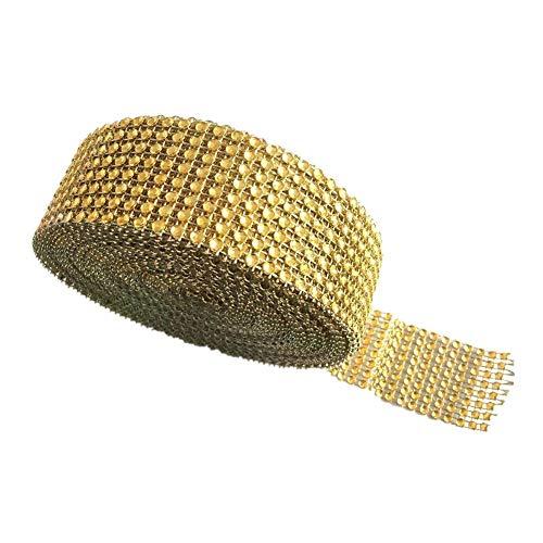Y&Y Star 10 Yards 30ft 8 Row Gold Diamond Rhinestone Mesh Ribbon Bling Bling Wrap Bulk(8Row Gold)