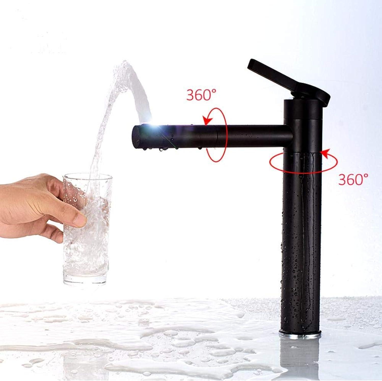 Basin Tap Matte Black 720 Degree redation Basin Faucet Single Handle Mixer Tap Bathroom Crane H C Water Tap Mixer Torneira