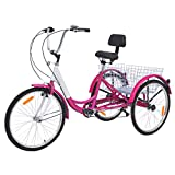 VANELL 7/1 Speed Tricycle Adult 20/24/26 in Trike Cruise Bike 3 Wheeled Bicycle W/Large Size Basket for Women Men Shopping Exercise Recreation (Candy-Pink, 7 Speed - 24')