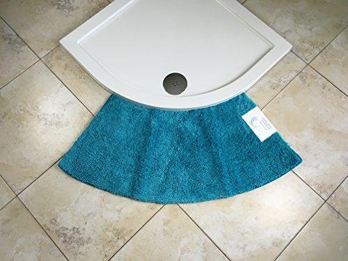 Cazsplash Quadrant Kleine Gebogene Duschmatte, Microfaser, blaugrün, M