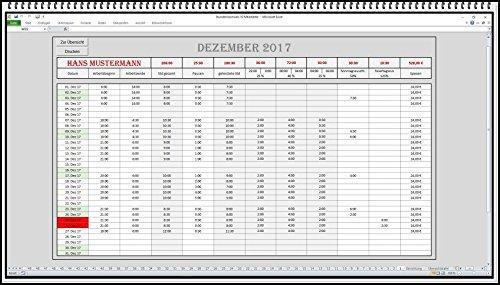 Stundenzettel Stundennachweis Arbeitszeitverwaltung digitale Arbeitszeiterfassung mit automatischer Berechnung der Zuschläge Zeitkonto Monatskonto Regiebericht Rapport Arbeitszeitrechner Excel