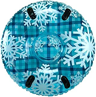 """Pipeline Sno Blue Hot Plaid Inflatable 2 Person MEGA Snow Tube with 2 Grip Handles, 48"""" Inch Diameter"""