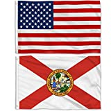 Aisto 2 Pieces 3x5 Feet Florida State Flag and American Flag for Outdoor and Indoor Use -Made by 100% Polyester-Vivid Colors and UV Fade Resistant - Double Stitched with Two Brass Grommets.