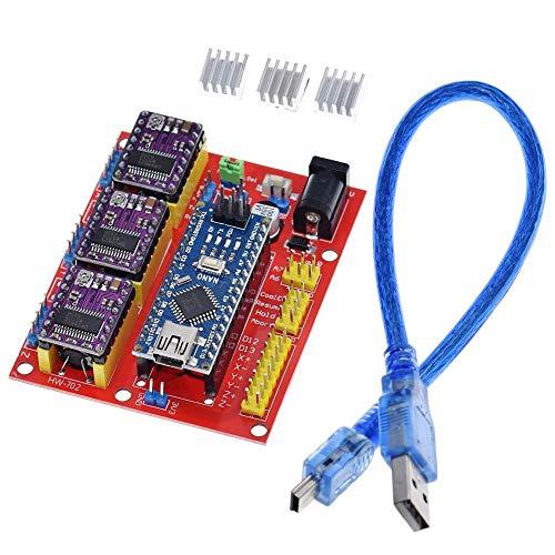 Compatibele Vervangings CNC schild V4 graveermachine 3D-printer +3 stuks DRV8825 driver uitbreidingskaart for Arduino NANO V3.0 met een USB-kabel nano 3.0 Accessory