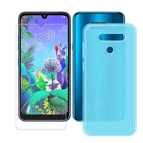 YZKJ Capa para LG K12 Max + película protetora de vidro temperado – capa de proteção de silicone TPU azul cristal flexível para LG K12 Max (6,2 polegadas)