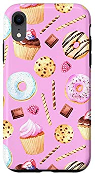 iPhone XR Pink Donut Cupcake Pattern and Cute Sweets Chocholate Fruits Case