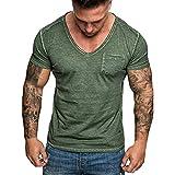 Men's T Shirt, V-Neck Slim Fit Casual Short Sleeve Lightweight Pocket Sport Work T-Shirt with Chest Pocket Khaki