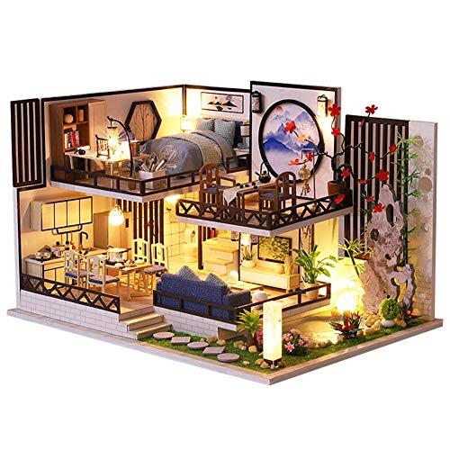 happygirr Casa de muñecas 3D en miniatura con muebles, hecha a mano, casa de madera con LED, casa de Navidad, regalo de cumpleaños
