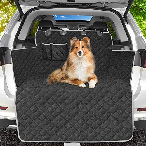 OMORC Hundedecke Kofferraum Auto, 100% wasserdichte Kofferraumschutz für Hunde Kofferraummatte mit Seitenschutz, Kation Muster Tuch Universal Auto Kofferraumdecke für Hunde