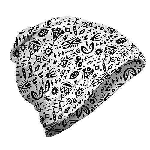 ABAKUHAUS Géométrique Bonnet Unisexe, Diverses Formes et Motifs, Randonnée en Extérieur, Gris foncé et Blanc