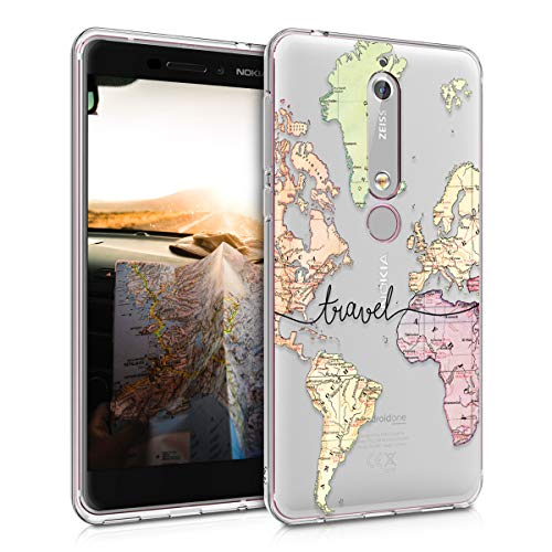 kwmobile Hülle kompatibel mit Nokia 6.1 (2018) - Handyhülle - Handy Hülle Travel Schriftzug Schwarz Mehrfarbig Transparent