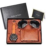 Bhdnx Reloj de Lujo de Oro Rosa para Hombre, Tarjetero de Cuero, Tarjetero, Gafas de Sol de Moda, Conjuntos para Hombres, Novio, Marido