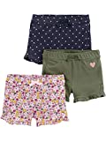 Simple Joys by Carter's Girls' 3-Pack Knit Shorts, Floral/Olive/denim, 18 Months