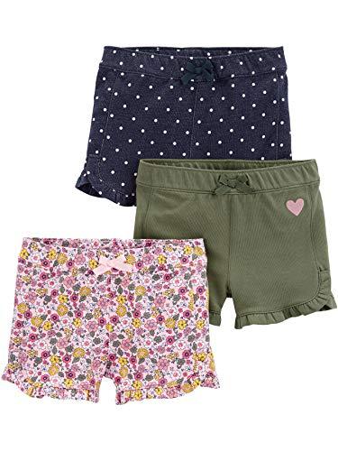 Simple Joys by Carter's 3-Pack Knit Infant-and-Toddler-Shorts, Floral/Olive/Denim, 4 Jahre, 3er-Pack