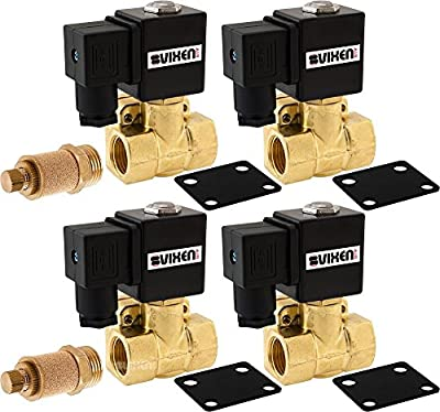 "Vixen Air 1/2"" NPT Air Ride Suspension High Flow Electric Air Valve (Solenoid) 250 PSI (4-Pack) with Two 1/2"" Flow/Dump Control Valves VXF4012M-4 from Vixen Air"