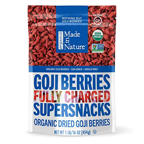 Made in Nature Organic Dried Fruit, Goji Berries, 16oz Bag – Vegan, Non-GMO, Unsulfured, Antioxidant Rich Supersnack
