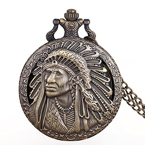 JTWMY Exquisito Reloj de Bolsillo de Cuarzo Steampunk Reloj de Bolsillo con patrón Indio Nativo Antiguo con Cadena de Collar Regalos por defecto