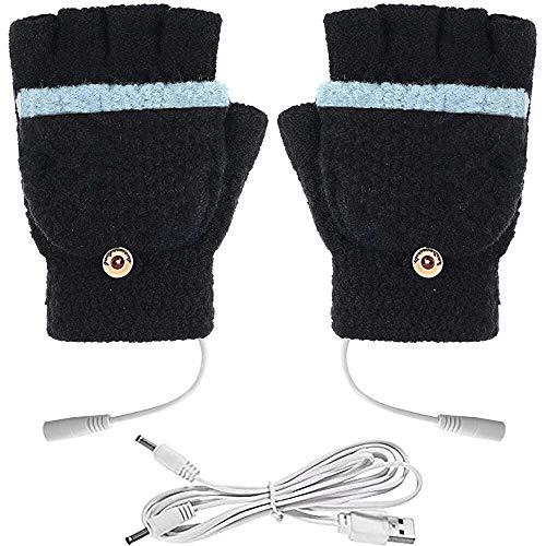 YuKeShop Uppvärmda handskar för kvinnor/män, handvärmarehandskar, stickning ull värmevantar, vinter kallt väder present för kontorstyp, full hand och fingerlös design