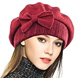 VECRY Lady French Beret 100% Wool Beret Floral Dress Beanie Winter Hat (Bow-Claret)