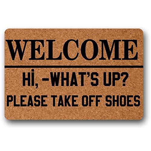 """TIANTURNM Bienvenida Hola Qué Pasa por Favor quítate los Zapatos Felpudo Decorativo Felpudo Interior x No Impermeable Tapete Decoracion 24""""x36"""""""