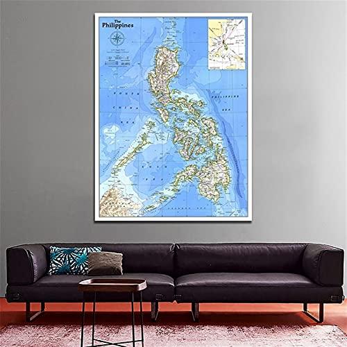 WSF-MAP, 1 stück philippinen 1986 weltkarte vlies kunst papier malerei wohnkultur world karte wand poster student schule büro liefern 100x150cm