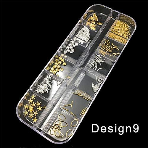 Meiyy Nageldecoratie met 12 designs, voor nagels, studs van metaal, kleurrijk, met strass, parels, om zelf te maken, manicure, versieringen voor nagels, sieraden, body art Design9