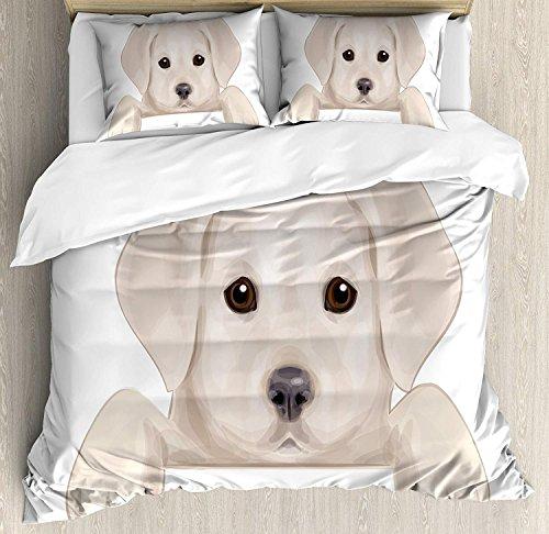 Juego de funda nórdica Baby 3 PCS, lindo cachorro que se esconde con sus pequeñas y adorables patas Ilustración de perro labrador, juego de cama Colcha para niños / adolescentes / adultos / niños, Tan
