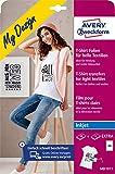 Avery Zweckform MD1011 - Láminas textiles para tejidos claros, DIN A4, imprimibles para camiseta, lámina de transferencia para impresora de inyección de tinta, lámina de planchado