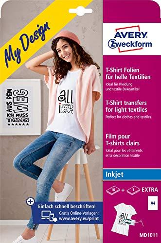 AVERY Zweckform 10+1 Textilfolien (für helle Textilien, DIN A4, bedruckbare T-Shirt Folie zum Aufbügeln, Transferfolie für Inkjet-/Tintenstrahldrucker, Bügelfolie) MD1011