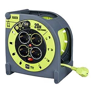 Masterplug HMG20164SL/HK-PX Alargador 4 enchufes, Ganchos de fijación, manivela Enrollable, protección térmica e Interruptor de Red, Cable Visible de 20 Metros, 3000 W, 230 V, 20m