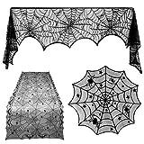【 本格3点セット 】monoii ハロウィン 飾り テーブルクロス レース 蜘蛛 ハロウィンパーティー 装飾 おしゃれ インテリア デコレーション 部屋 テーブル d877