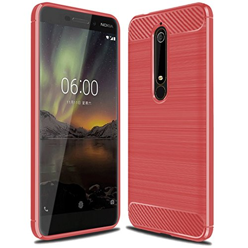 Nokia 6.1 Case,Nokia 6 2018 Case,Not for Nokia 6 2017',Sucnakp TPU Shock Absorption Technology Raised Bezels Protective Case Cover for Nokia 6 2018 (TA-1068) smartphone (Red)