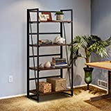 Halter Wooden Bookshelf with Folding Metal Frame. Spacious 49x23x12. Strong, Heavy Duty for Books, Tools, Decor. Fast, Easy Assembly, Movable for Living Room, Office (Brown, 4 Tier, 1-Pack)