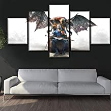 Art0264 5 Piece Wall Art Canvas Prints Home Decor Prints Painting Pictures Wall Art The Witcher 3 Modular Canvas Game Poster Modern Bedside Background Frame (31.5 X 60Inch) Framed