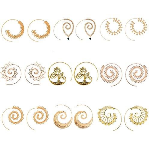 9 Pairs Golden Bohemian Vintage Tribal Swirl Spiral Hoop Earrings Set For Women Mother Jewelry(golden)