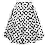 Faldas Cortas Mujer Falda Plisada Vintage Falda Estampada a Lunares Faldas Medias Verano Slim Casual Enagua Falda de Playa con Cremallera Blanco 800