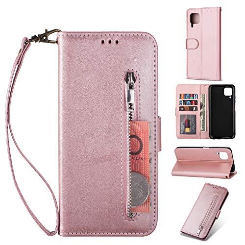 ZTOFERA Huawei P40 Lite Hülle, Magnetisch Folio Flip Wallet Leder Standfunktion Reißverschluss schutzhülle mit Trageschlaufe, Brieftasche Hülle für Huawei P40 Lite - Roségold