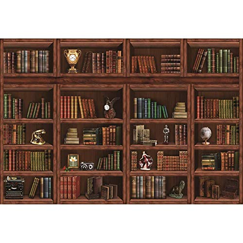 Yeele 5x3ft Polyester Retro Library Backdrop for Photography Vintage Bookcase Old Books on Bookshelf Office Background Online Teaching Video Conference Adults Kids Artistic Portrait Photoshoot Props