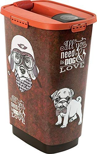 Rotho Cody Tierfutterbehälter 50l mit Deckel, Kunststoff (PP) BPA-frei, braun/orange, 50l (39,7 x 29,6 x 58,5 cm)