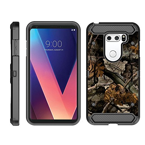 turtlearmor | Kompatibel für LG V30 Fall | LG V30 + Fall | LG V30 Plus [Armor Pro] Full Body Schutz Armor Hybrid Rugged Cover Holster Gürtel Clip Fall -, Tree Leaves Camouflage