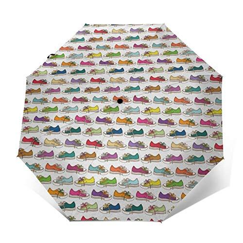 Paraguas Plegable Automático Impermeable Zapato 28,Paraguas De Viaje Compacto A Prueba De Viento, Folding Umbrella, Dosel Reforzado, Mango Ergonómico