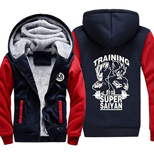 Preisvergleich Produktbild Mempire Herren Kapuzenpullover Sweatjacke mit Reißverschluss Super Saiyan Gemustert Sweatshirt Plus Samt (E, M)