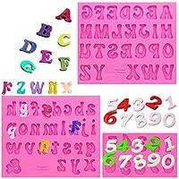 Amurgo シリコーン製文字型と数字のキャンディー型 大文字 小文字 0~9の数字 ハンドメイド チョコレート型 ハッピーバースデー ケーキデコレーション シンボル シリコントレイ