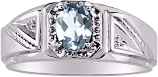 RYLOS 14K White Gold Ring with Oval Shape Gemstone & Genuine Sparkling Diamonds Classic Designer Band - 7X5MM Color Stone ...
