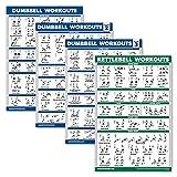 Palace Learning Paquete de 4 carteles de entrenamiento con mancuernas volumen 1, 2 y 3 + tabla de ejercicios de pesa rusa – juego de 4 carteles (aminados, 45,7 x 60,9 cm)