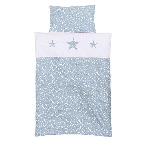 Babybay 410729 Linge de lit d'enfants en piqué, Bleu Ciel Blanches avec Application d'étoile, Multi Color, Taille Unique
