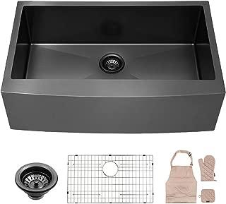 LORDEAR Matte Black 36 Inch Farmhouse Apron Single Bowl 16-gauge 10 Inch Deep Stainless Steel Kitchen Sink, LAB3621R1